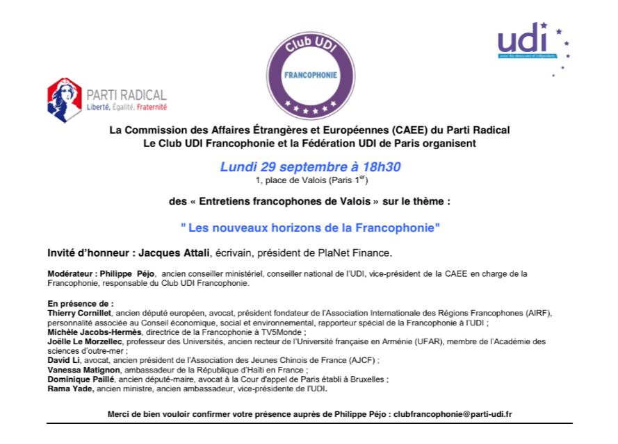 Entretiens Francophones de Valois 29 septembre 2014